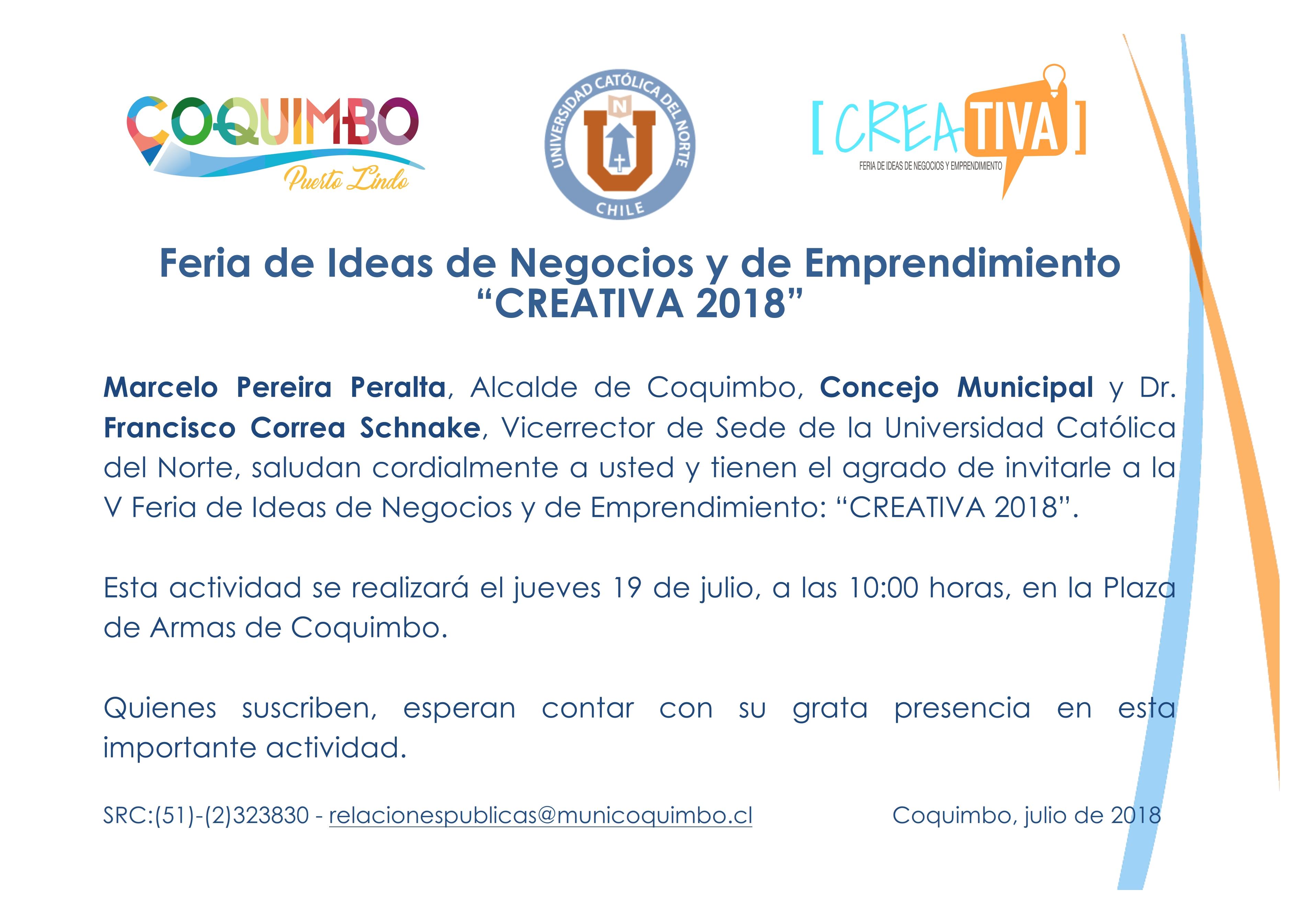 Quinta Feria de ideas de negocios y emprendimiento CREATIVA 2018